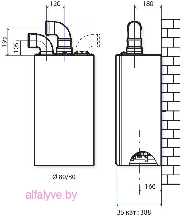 Схема крепления и размеры котла Chaffoteaux Talia Green Evo System
