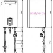 Габаритные размеры и подсоединения котла Chaffoteaux Talia Green Evo System HP 85-100 FF