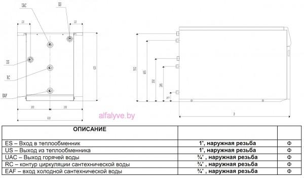 Габаритные размеры бойлера косвенного нагрева Beretta Aquamax