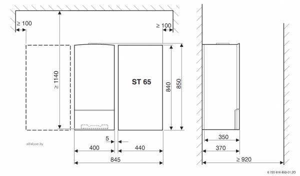 Установочные размеры бойлера ST 65 E для котла Bosch Condens 3000 W