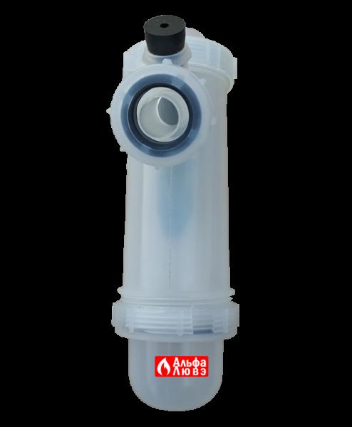 Конденсатоотводчик вертикальный для газового конденсационного котла отопления (вид сбоку)