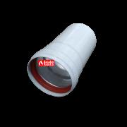 Удлинение алюминиевое Ø 80 мама-папа (M-F) раздельного дымоудаления 15 см