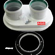 Адаптер одноблочный алюминиевый для раздельного дымоудаления 60-100 с переходом на 80-80 на котел Bosch, Junkers, Buderus, Alical, Protherm