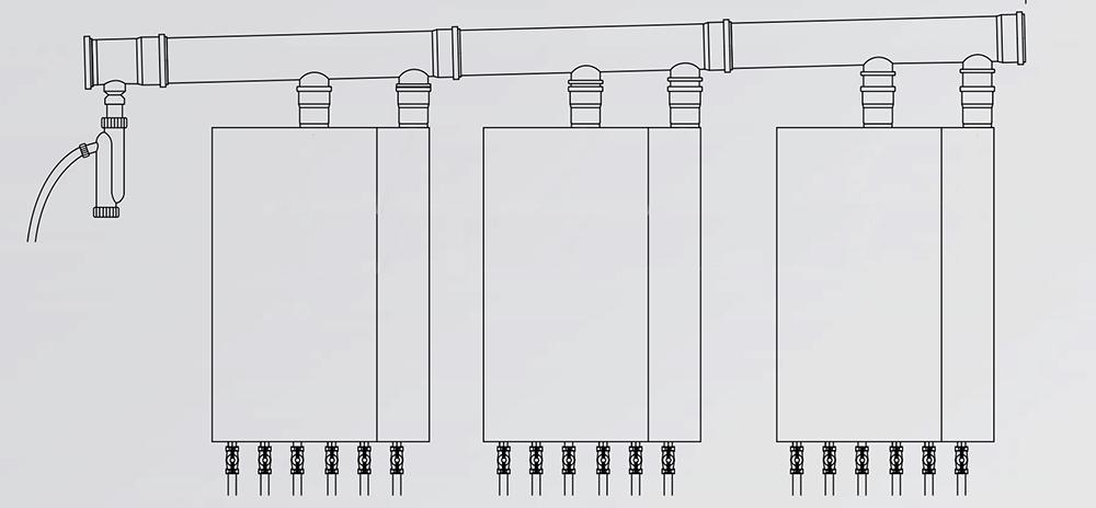 Каскад из трех котлов с удлинениями с двумя ответвлениями