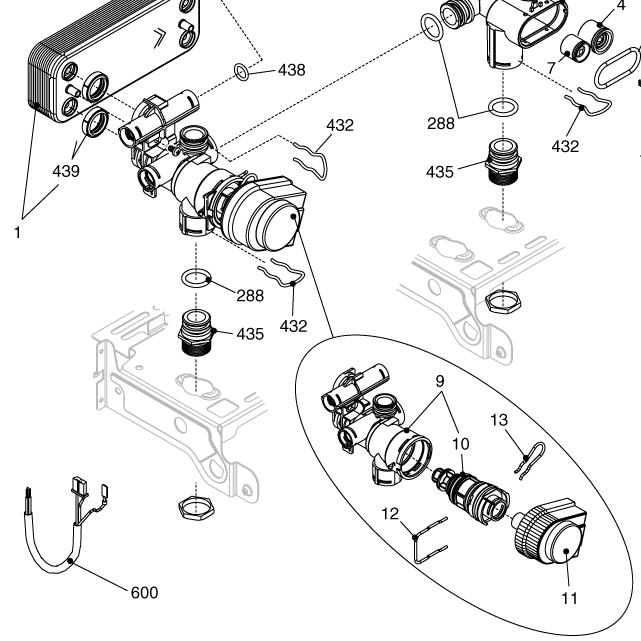 Картридж трехходового клапана Beretta R10025305 на схеме запасных частей