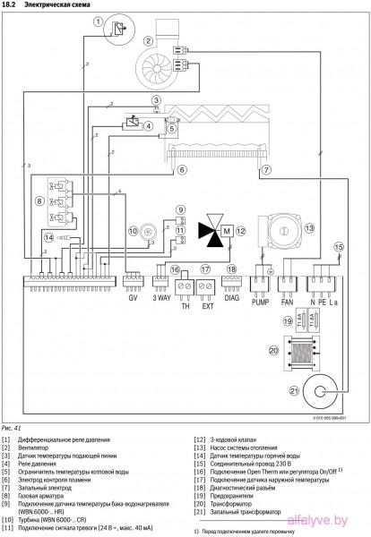 Электрическая схема котла Bosch Gaz 6000 W