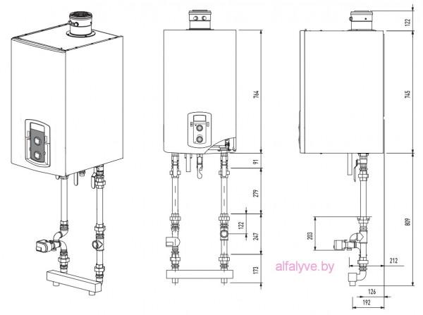 Габаритные размеры и подключения котла Chaffoteaux Talia Green Evo System HP 45-65 FF