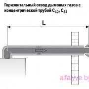 Горизонтальный отвод дымовых газов с концентрической трубой C12, C42