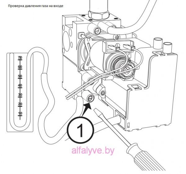 Проверка давления газа на входе Chaffoteaux Alixia S