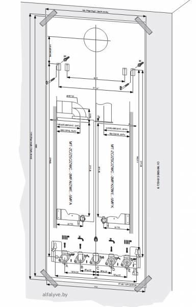 Монтажный шаблон для горизонтального подключения у котла Bosch Condens 3000 W