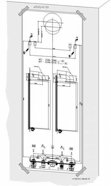 Монтажный шаблон для вертикального подключения у котла Bosch Condens 3000 W