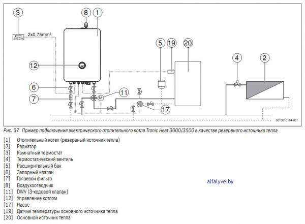 Пример подключения электрического отопительного котла Bosch Tronic Heat 3000-3500 в качестве резервного источника тепла