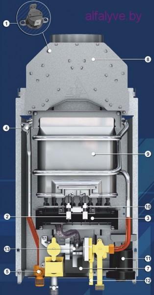 Внутреннее устройство водонагревателя Neva 4510 M