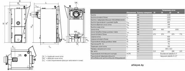 Габаритные размеры котла Bosch Solid 3000 H