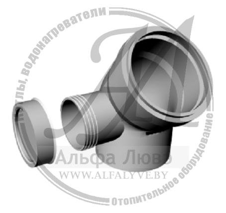 Ревизионное колено 45 градусов правое для системы дымоудаления конденсационного котла