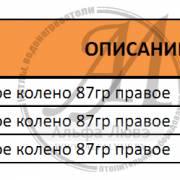 Таблица ревизионное колено 87 градусов (правое) для системы дымоудаления конденсационного котла
