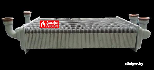 Битермический теплообменник PRB2550201 на котел Альфа-Калор (вид сбоку)