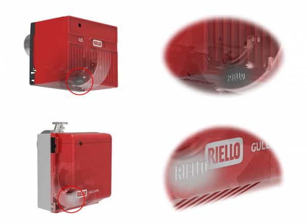 Защитные лэйбы на новых горелках Riello N40 и Gulliver
