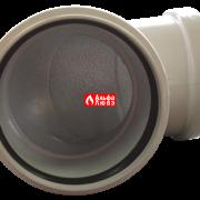 Отвод (поворот, коленко) 90° для системы раздельного дымоудаления (вид снизу)