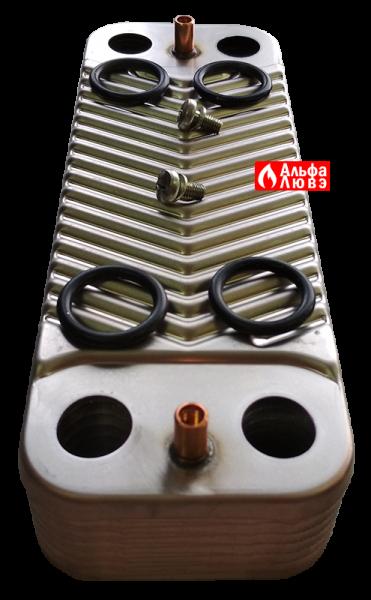 Теплообменник ГВС Junkers-Bosch 18037-8-705-406-389 (вид спереди)