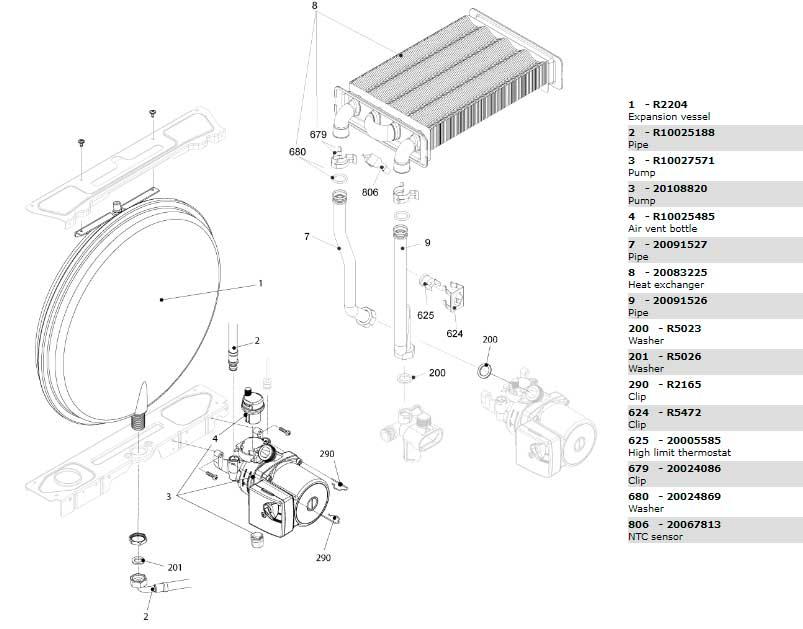 Теплообменник-циркуляционный насос-трубки котла Beretta City 24 Cai 20087845