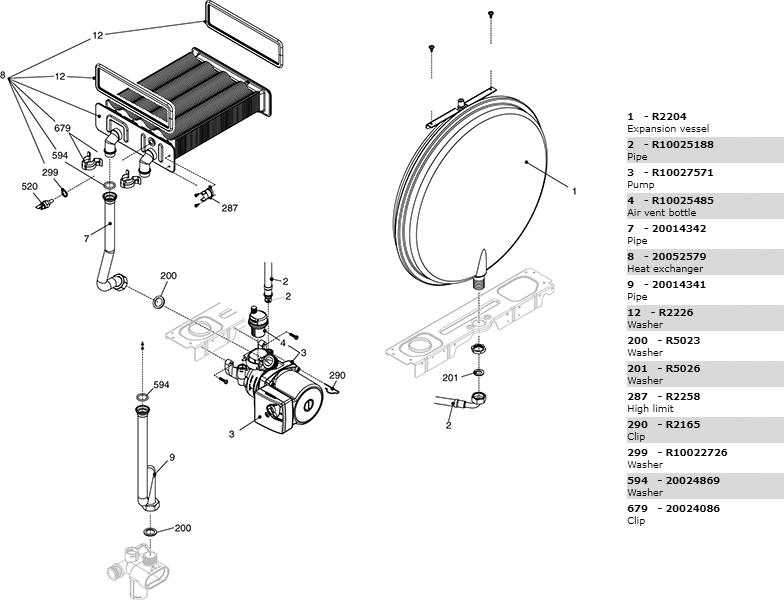 Теплообменник-циркуляционный насос-трубки котла Beretta City 28 Csi 20049590
