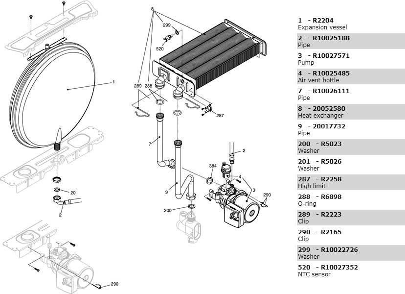 Теплообменник-циркуляционный насос-трубки котла Beretta City 28 Rai 20049743