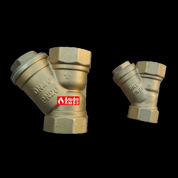 Фильтр грубой очистки латунный Slovarm размерами DN 25 (1 дюйм), DN 40(1 1-2 дюйм)