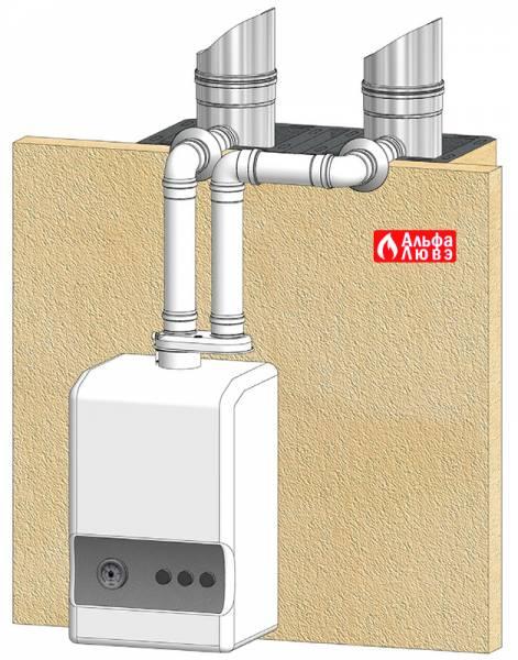 Пример дымоудаления алюминий через адаптер воздух-дым с подключением к другому дымоходу