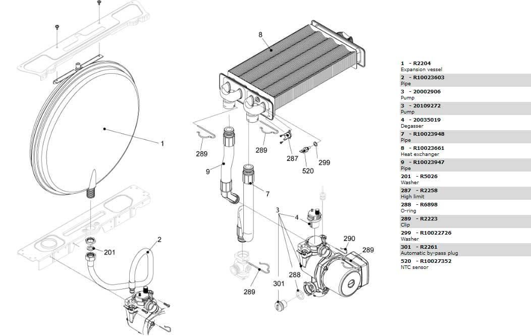 Теплообменник-циркуляционный-насос-трубки котла Beretta Ciao 28 Cai 20049702