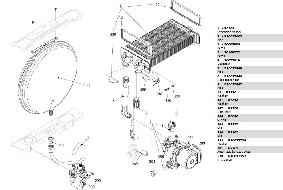 Теплообменник циркуляционный насос трубки котла Beretta Ciao 28 Csi 20049343