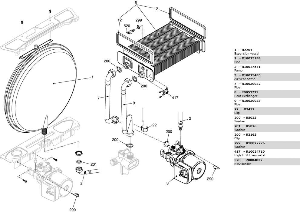 Теплообменник-циркуляционный-насос-трубки-котла-Beretta-City-24-CAI-2410313