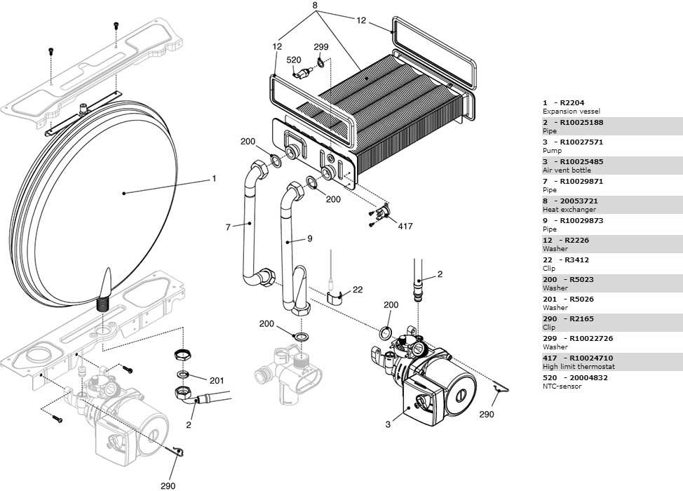 Теплообменник-циркуляционный насос-трубки котла Beretta City 24 CSI 2410323