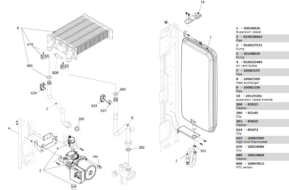 Теплообменник-циркуляционный насос-трубки котла Beretta City 24 RSI 20087849