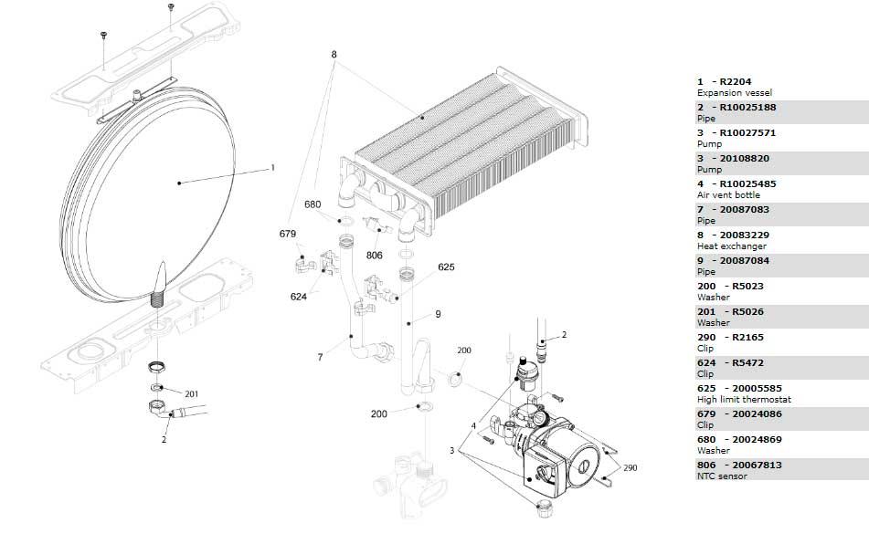 Теплообменник циркуляционный насос трубки котла Beretta City 28 RAI 20087851