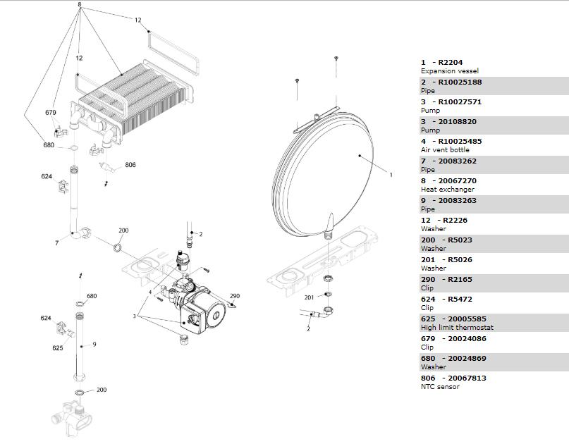 Теплообменник-циркуляционный насос-трубки котла Beretta City 28 RSI 20087850