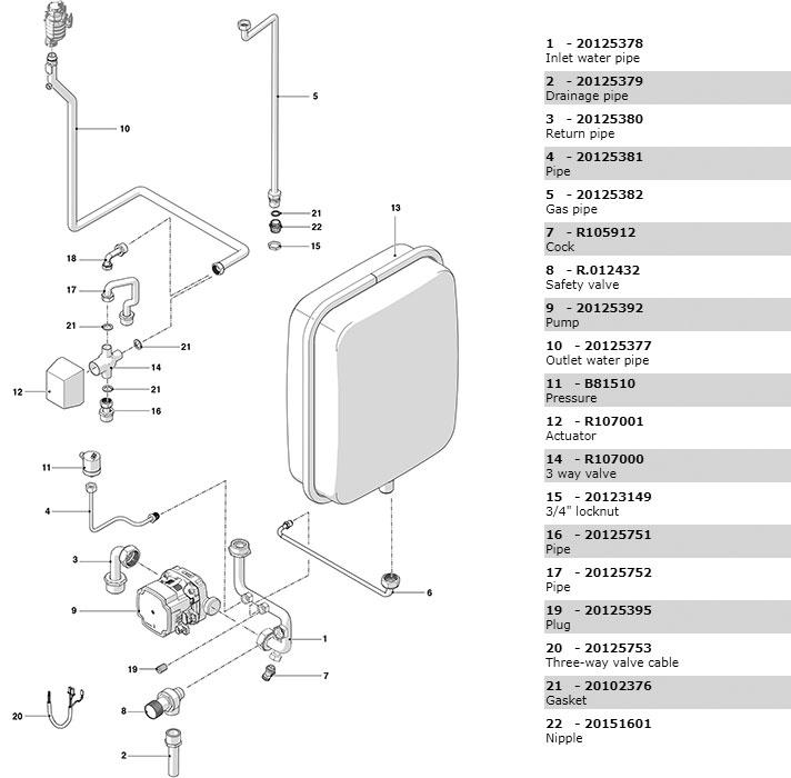 Гидравлическая часть 2 котла Beretta Power X 50 RSI 20114815