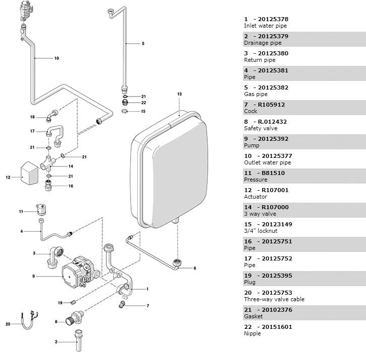 Гидравлическая часть 2 котла Beretta Power X 50 RSI DEP 20117322