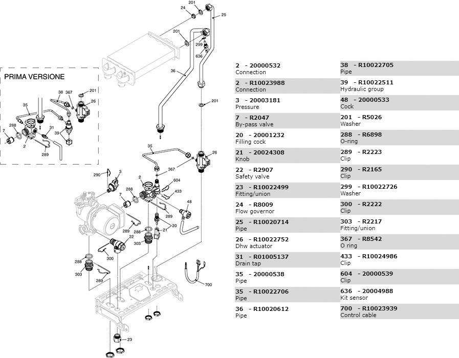 Гидравлическая часть котла Beretta Ciao 24 CAI N 2410203