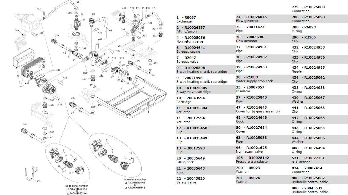 Гидравлическая часть котла Beretta Exclusive Mix 26 CSI 1150343