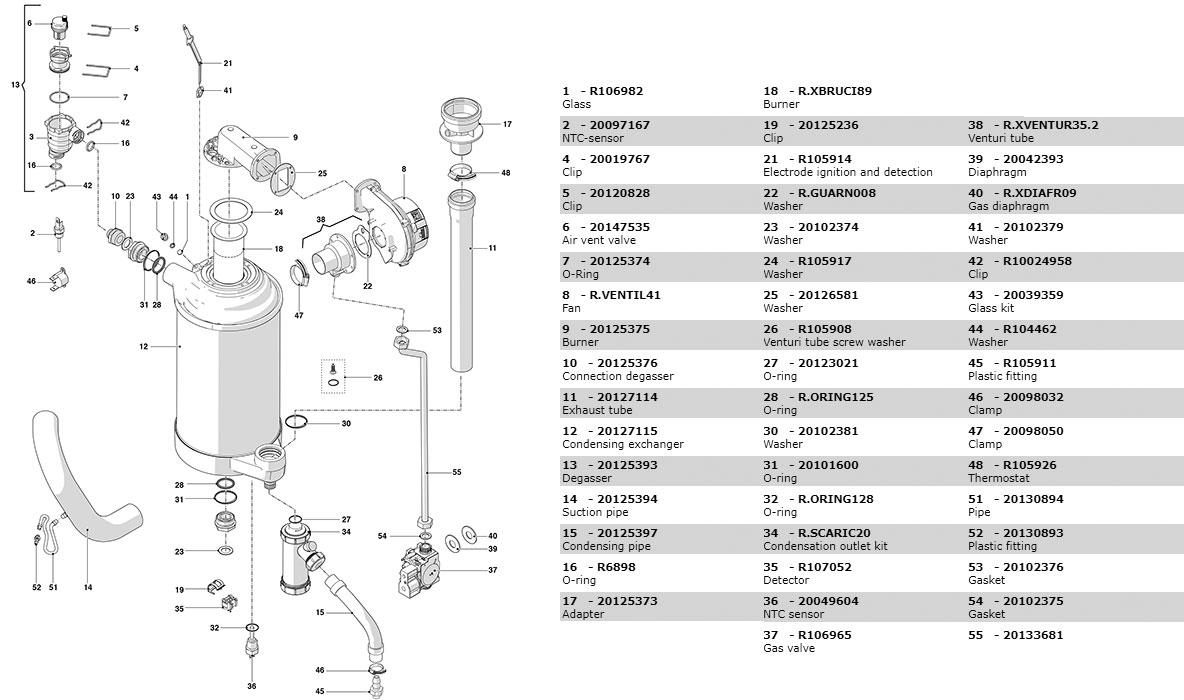 Гидравлическая часть котла Beretta Power X 35 RSI 20124217