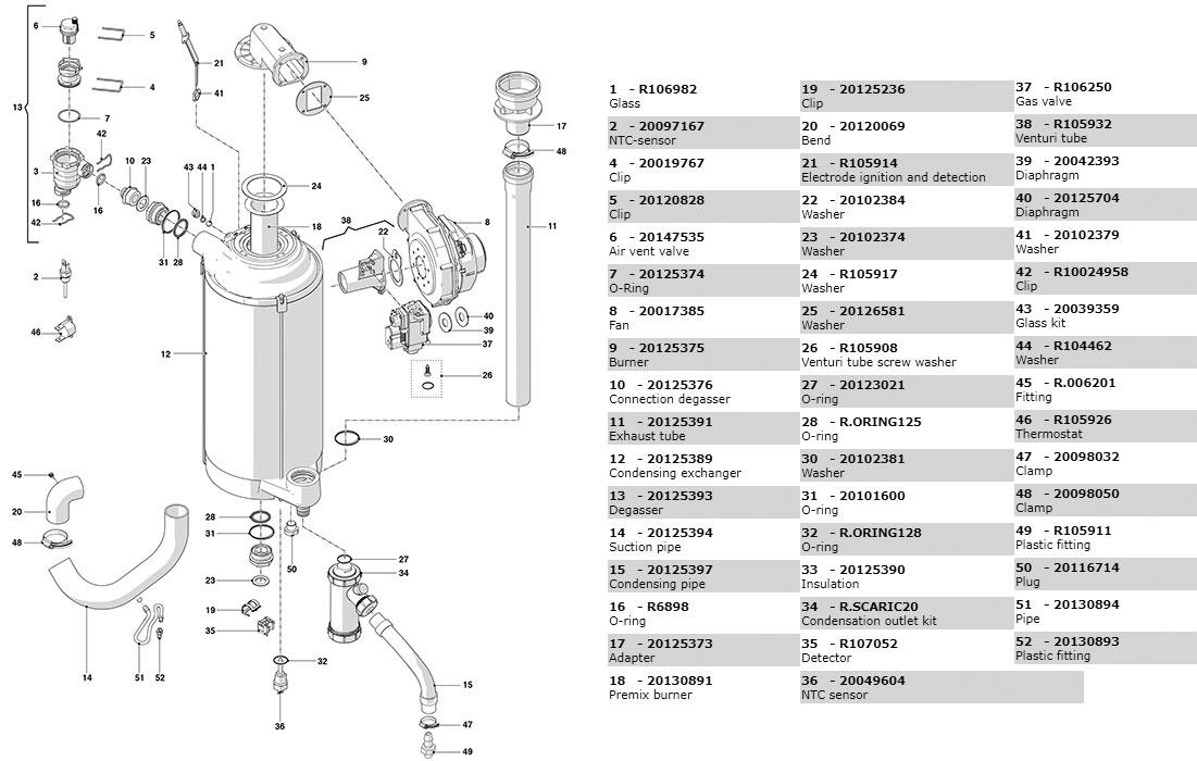 Гидравлическая часть котла Beretta Power X 50 RSI 20114815
