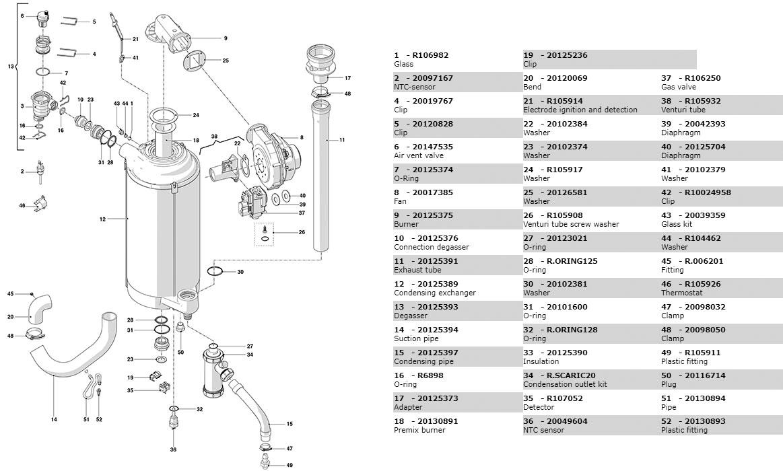 Гидравлическая часть котла Beretta Power X 50 RSI DEP 20117322
