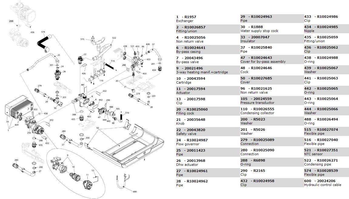 Гидравлические компоненты-котла-Beretta-Exclusive-Green-HE 25 CSI 20044041