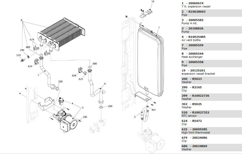 Теплообменник-циркуляционный-насос-трубки котла Beretta Ciao 16 Csi 20068314
