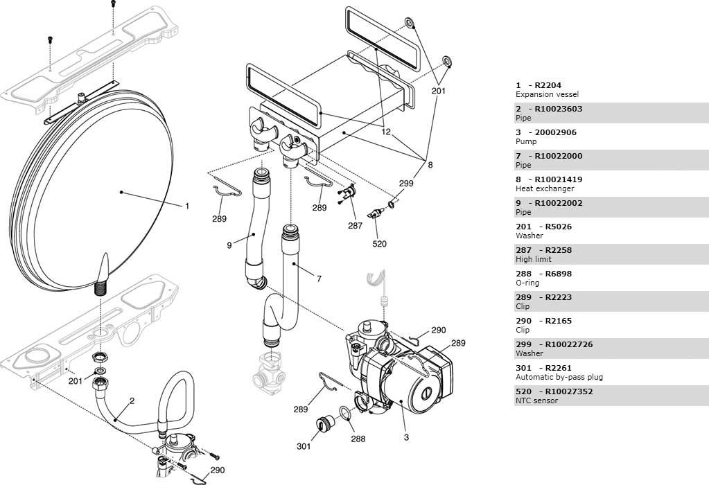 Теплообменник-циркуляционный-насос-трубки котла Beretta Ciao 24 Cai 2410053