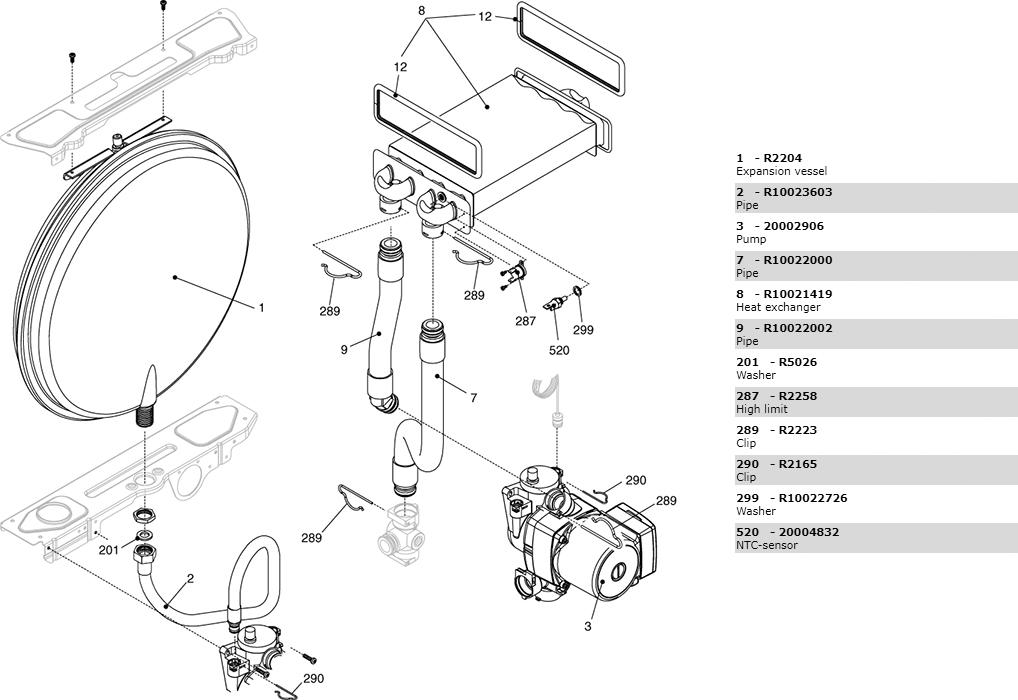 Теплообменник-циркуляционный-насос-трубки котла Beretta Ciao 24 Cai N 2410203