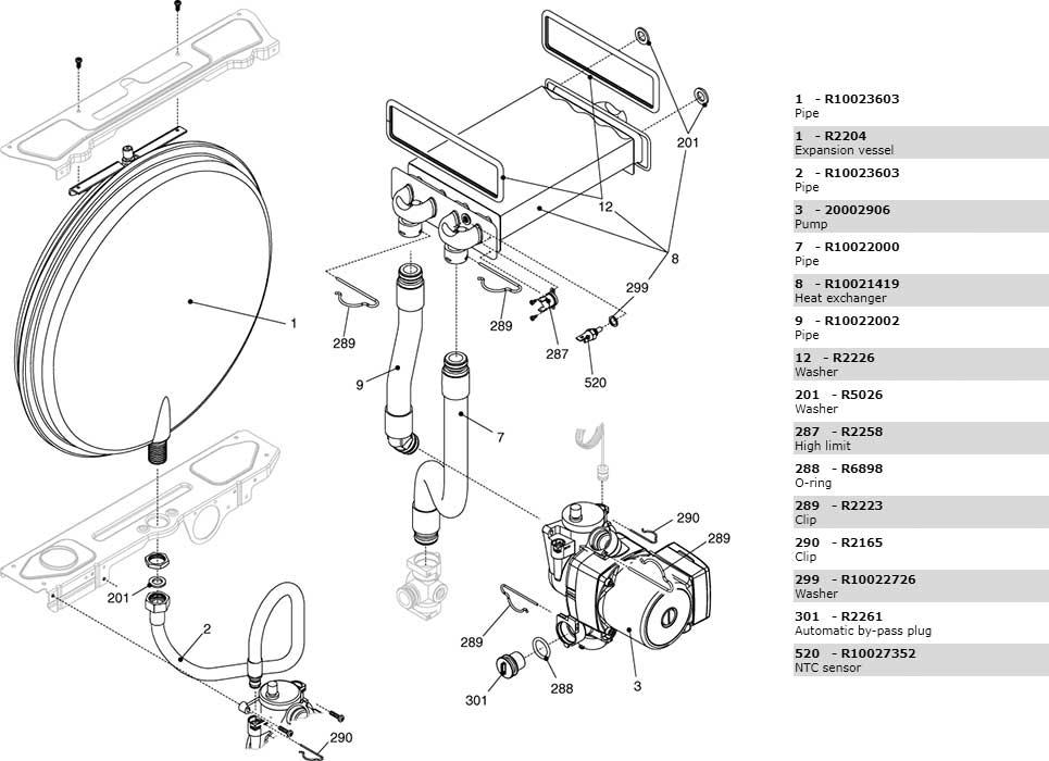 Теплообменник-циркуляционный-насос-трубки котла Beretta Ciao 24 Csi 2410073