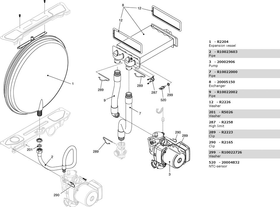 Теплообменник циркуляционный насос трубки котла Beretta Ciao 24 Csi Nord 2410293