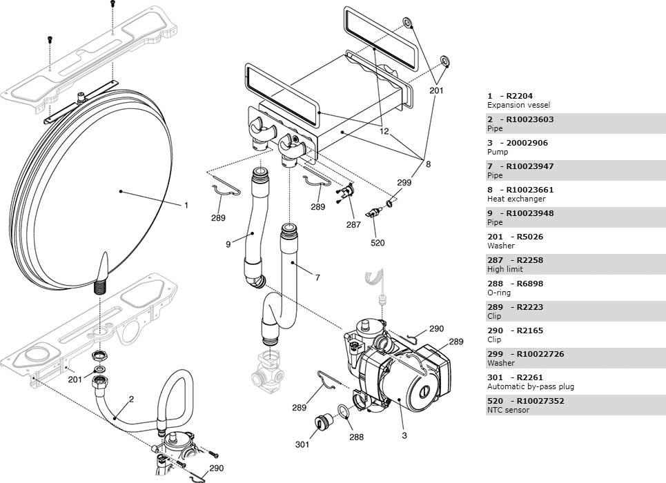 Теплообменник-циркуляционный-насос-трубки котла Beretta Ciao 28 Cai 2410063